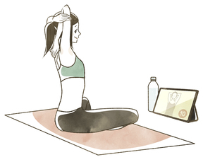オンラインでトレーニングをする女性のイラスト素材 [FYI04787654]