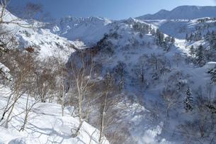 北海道 十勝岳連峰の冬の風景の写真素材 [FYI04787676]
