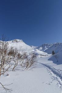 北海道 十勝岳連峰の冬の風景の写真素材 [FYI04787706]