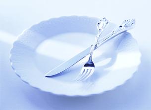 皿の上のフォークとナイフの写真素材 [FYI04787766]