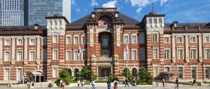 東京駅丸の内と駅前広場の写真素材 [FYI04787897]