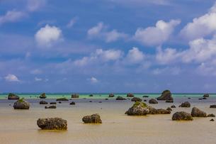 明和の大津波で運ばれてきた岩が転がる佐和田の浜の写真素材 [FYI04788451]