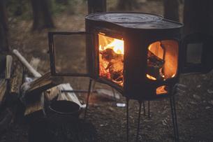 薪ストーブの焚き火。杉の森の中の冬キャンプ。の写真素材 [FYI04788560]