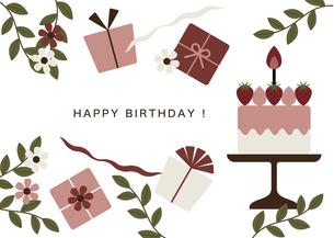 バースデーケーキとプレゼント カードのイラスト素材 [FYI04788672]
