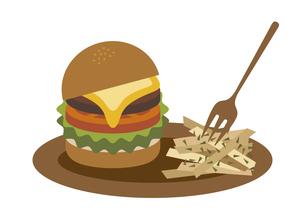 ハンバーガー ポテト イラストのイラスト素材 [FYI04788673]