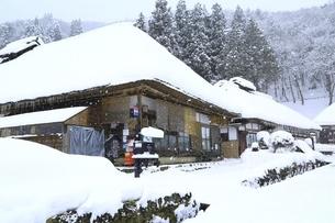降雪の大内宿の写真素材 [FYI04788761]