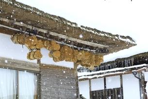降雪の大内宿の写真素材 [FYI04788762]
