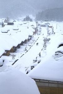 降雪の大内宿の写真素材 [FYI04788766]