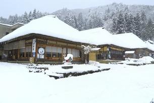 降雪の大内宿の写真素材 [FYI04788771]