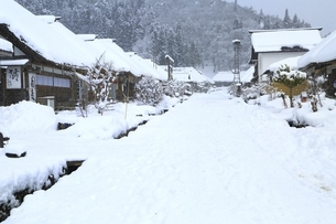 降雪の大内宿の写真素材 [FYI04788775]