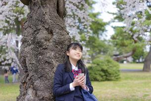 スマートフォンを持つ女子学生と桜の写真素材 [FYI04788890]