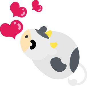 恋するぬいぐるみのようなころころ牛のイラストのイラスト素材 [FYI04789116]