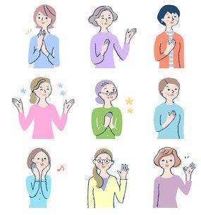 笑顔の中高年女性9人 セットのイラスト素材 [FYI04789233]