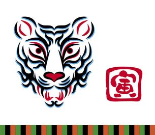 虎の顔のデザイン 日本の伝統芸能 歌舞伎の舞台メイク 隈取り イラストのイラスト素材 [FYI04789241]