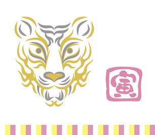 虎の顔のデザイン 日本の伝統芸能 歌舞伎の舞台メイク 隈取り イラストのイラスト素材 [FYI04789249]
