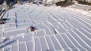 雪に覆われた椹平の棚田の写真素材 [FYI04789263]