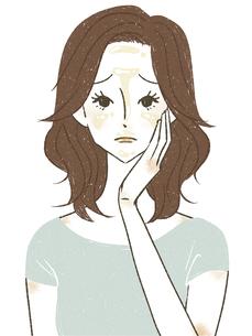 顔のテカリに悩む女性のイラスト素材 [FYI04789298]