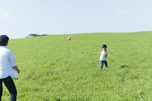 草原でボール遊びをする親子の写真素材 [FYI04789420]