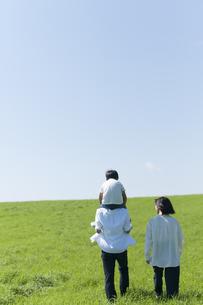 草原で肩車をする親子の後ろ姿の写真素材 [FYI04789459]