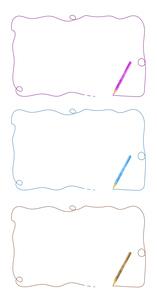 水彩の色鉛筆のフレームセットのイラスト素材 [FYI04789751]