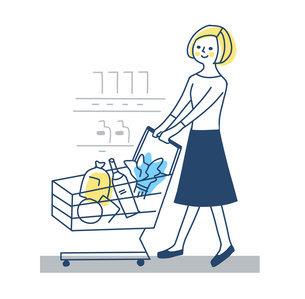 ショッピングカートを押して買い物をする女性のイラスト素材 [FYI04789760]