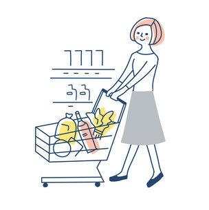 ショッピングカートを押して買い物をする女性のイラスト素材 [FYI04789761]
