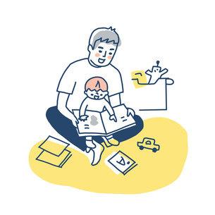 膝の上で抱っこしながら絵本を読む父と男の子のイラスト素材 [FYI04789765]
