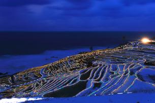 雪の能登半島 白米千枚田あぜのきらめき夜景の写真素材 [FYI04789823]