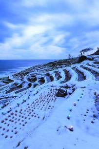 雪の能登半島 白米千枚田あぜのきらめき夕景の写真素材 [FYI04789829]