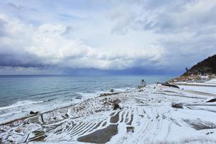 冬の能登半島 白米千枚田に雪の写真素材 [FYI04789831]