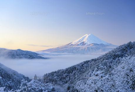 山梨県 雲海に浮かぶ富士山と雪景色の写真素材 [FYI04789892]