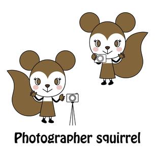 フォトグラファーの可愛いリスさん キャラクター イラストのイラスト素材 [FYI04790324]