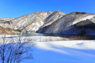 冬の白川郷 鳩谷ダム雪景色の写真素材 [FYI04790552]