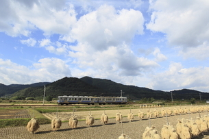 秋空の下を行く弘南鉄道電車の写真素材 [FYI04790761]