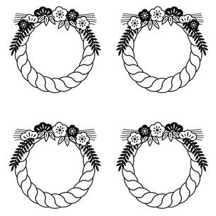 しめ縄飾りのスタンプ風フレームイラスト セットのイラスト素材 [FYI04791774]