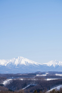 春の晴れた日の丘陵地帯と山並みの写真素材 [FYI04791869]