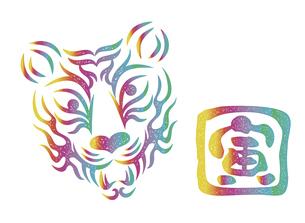 虎の顔のデザイン 日本の伝統芸能 歌舞伎の舞台メイク 隈取り スタンプ風イラストのイラスト素材 [FYI04791945]