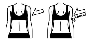 女性の背中-チェック-黒のイラスト素材 [FYI04792442]
