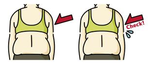 肥満の女性の背中-チェックのイラスト素材 [FYI04792444]