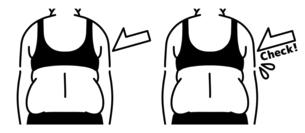 肥満の女性の背中-チェック-黒のイラスト素材 [FYI04792445]