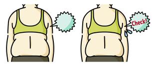 肥満の女性の背中-チェックのイラスト素材 [FYI04792456]