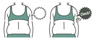 肥満の女性の背中-チェック-2色のイラスト素材 [FYI04792458]