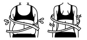 肥満の女性とスリムな女性の背中-メジャー-黒のイラスト素材 [FYI04792460]