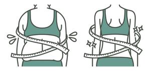 肥満の女性とスリムな女性の背中-メジャー-2色のイラスト素材 [FYI04792461]