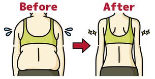 肥満の女性とスリムな女性の背中-ビフォーアフターのイラスト素材 [FYI04792462]