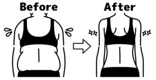 肥満の女性とスリムな女性の背中-ビフォーアフター-黒のイラスト素材 [FYI04792463]
