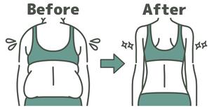 肥満の女性とスリムな女性の背中-ビフォーアフター-2色のイラスト素材 [FYI04792464]