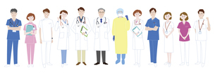 医療従事者として活躍する人々の集合体のイラスト素材 [FYI04792601]