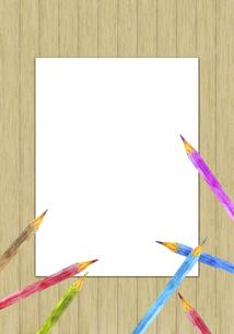 色鉛筆のフレーム 板壁背景のイラスト素材 [FYI04792706]