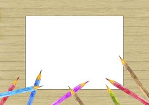 色鉛筆のフレーム 板壁背景のイラスト素材 [FYI04792708]
